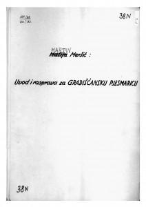 Uvod i rasprava za gradišćansku pjesmaricu, 1934.