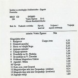 1) Glagoljska misa u Ninu.; 2) Folklorna građa iz Bačkog Brega, 1962.