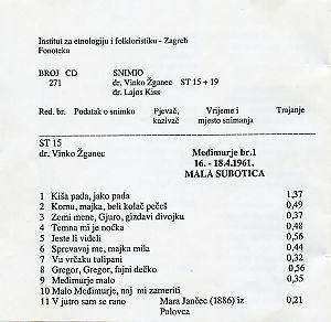 1. Folklorna glazba u Međimurju 1960. i 1961.; 2. Mađarske narodne pjesme u Korođu (Slavonija), 1957.
