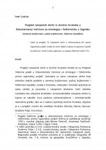 Pregled rukopisnih zbirki iz istočne Hrvatske u Dokumentaciji IEF-a (usmena književnost, pučka književnost, folklorno kazalište)