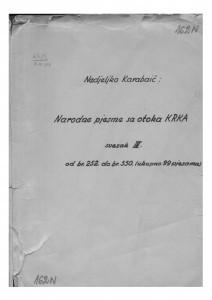 Narodne popijevke s otoka Krka, sv. IV., (ONŽO NZ 73 d), 1946- 1953.