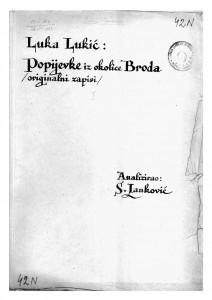 Popijevke iz okolica Slavonskog Broda, 1919.