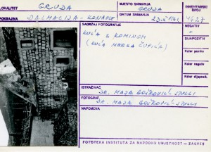 Folklorna građa iz Konavala 2, 1961.: Kuća s kominom (kuća Marka Čupića).