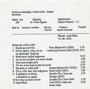 Folklorna  glazba - otok Krk 1955.