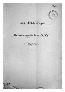 Narodne popijevke iz Istre, sv. I., 1946.