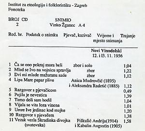 1. Narodne pjesme u Novom Vinodolskom 1956.; 2. Ansambl