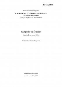 Domovinski rat i ratne žrtve u 20. stoljeću: etnografski aspekti. Razgovor sa Štukom, Zagreb, 21. 12. 2002.