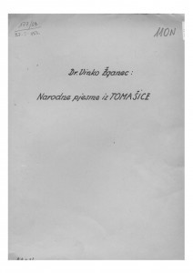 Narodne pjesme iz Tomašice (kotar Garešnica), 1951.