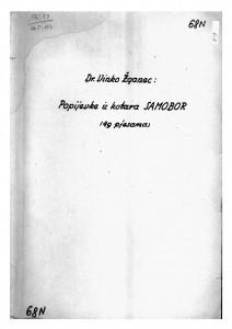 Popijevke iz kotara Samobor, 1950.