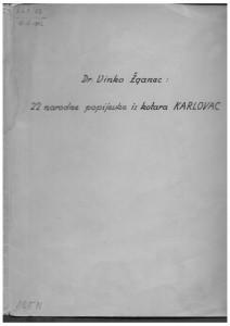 Narodne popijevke iz kotara Karlovac, 1951.