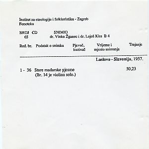Mađarske narodne pjesme iz Laslova 1957.