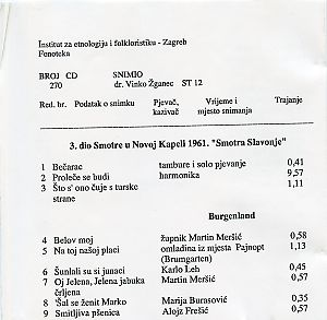 Smotra u Novoj Kapeli (Slavonija), 1961.; Folklorna glazba u Gradišću (Austrija).