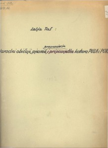 Narodne pjesme, praznovjerja, običaji kotara Pula i Poreč 1952.