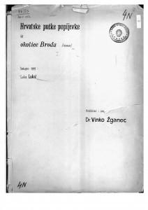 Hrvatske pučke popijevke iz Slavonskog Broda, 1919.