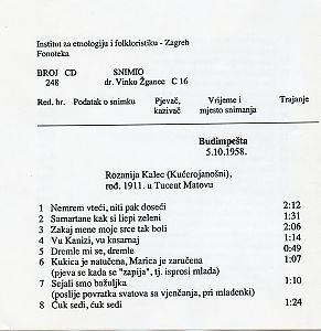 Folklorna glazba u Budimpešti, 1958.