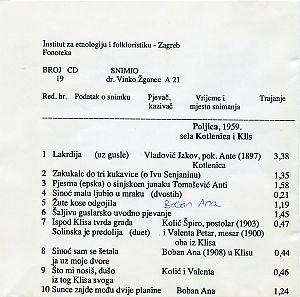 Folklorna glazba Poljica, 1959.
