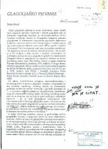 Glagoljaško pjevanje.  Članak za 1. svezak serije Hrvatska i Europa, HAZU, Zagreb.    (1994.)
