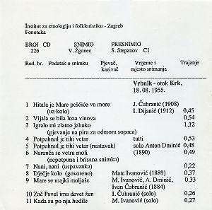 Folklorna glazba otoka Krka (Vrbnik, Dobrinj),  1955. i Novi Vinodolski 1956.