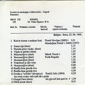 1.  Folklorna glazba u Istri, 1960.; 2. Folklorna glazba na Korčuli, 1960.