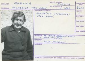 Narodne pripovijetke i predaje otoka Brača, 1969.: Kazivačica (pjevačica) Jela Papić.