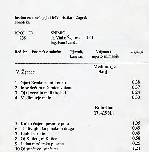 1) Folklorna glazba u Međimurju 1961.; 2) Slavonija. Ples raznih kola dijelom uz pjevanje, sve uz svirku tamburaškog orkestra.