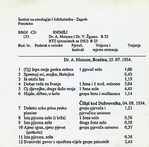 1) Folklorna glazba Bratine 1954.; 2) Folklorna glazba Čilipa 1954.; 3) Folklorna glazba Korčule i  Orebića 1960.; 4) Svirala i bubanj, pjesme iz Utolice (Banija). Snimljeno u Kostajnici 1958.