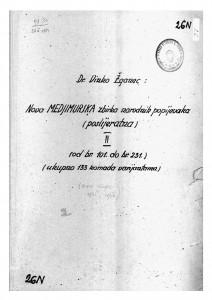 Hrvatske pučke popijevke iz Međimurja, sv. II., 1945/46.