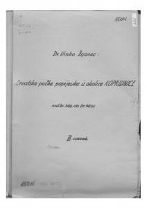 Narodne popijevke iz kotara Koprivnica, sv. III., 1952, (ONŽO NZ 86);