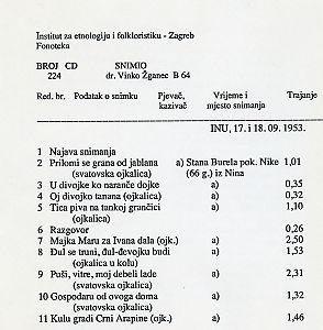 Pjevači iz Nina. Snimljeno u Zagrebu 1953.