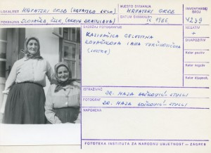 Folklorna građa hrvatskih sela u Slovačkoj; Devinska Nova Ves, 1966.: Kazivačica Celestina Kovačikova i Ana Turčinovičova (sestre).