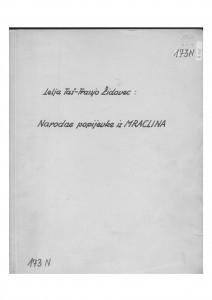 Narodne popijevke iz Mraclina (Turopolje), 1954.