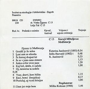1) Folklorna glazba u Međimurju 1952.; 2) Smotra u Zagrebu, 1954.