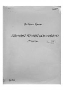Hrvatske pučke popijevke iz Međimurja, sv.XIX., 1952.