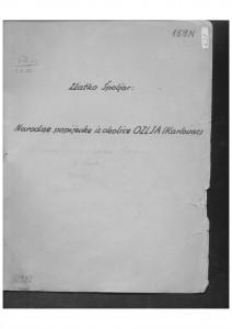 Narodne popijevke iz okolice Ozlja (Karlovac), (ONŽO NZ 56), 1952.
