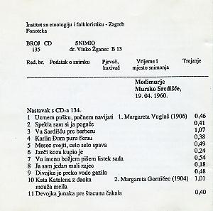 Folklorna glazba u Međimurju, 1960.