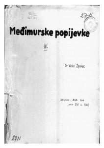 Hrvatske pučke popijevke iz Međimurja, sv. III., 1946.