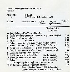 Folklorna glazba u Istri, 1957.