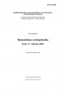 Domovinski rat i ratne žrtve u 20. stoljeću: etnografski aspekti. Razgovor s ratnodobnom srednjoškolkom. Knin, 17. siječnja  2004.