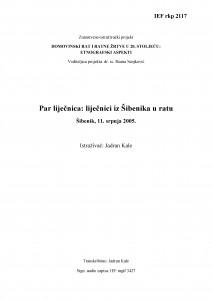 Domovinski rat i ratne žrtve u 20. stoljeću: etnografski aspekti. Par liječnica: liječnici iz Šibenika u ratu. Šibenik, 11. srpnja 2005.