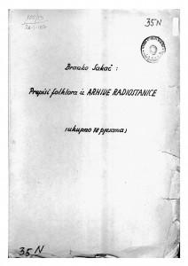 Neobjelodanjeni zapisi obradbi s repertoara narodnih ansambala Radio-stanice Zagreb, prije 1948.