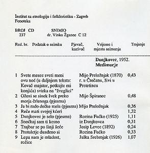 Folklorna glazba u Međimurju, 1952.