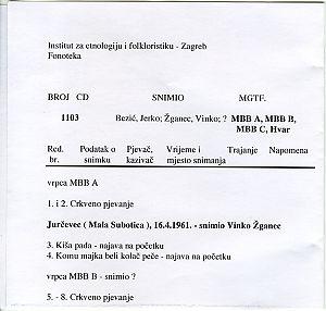 Crkveno pučko, glagoljaško i svjetovno pjevanje. Mala Subotica ( Jurčevec ), Svirče (otok Hvar ), ?.