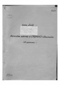 Narodne pjesme iz Slavonije, Moslavine, Žumberka i Pokuplja 1953 - 1959.