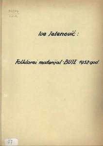 Folklorni materijal - Buje, 1952.