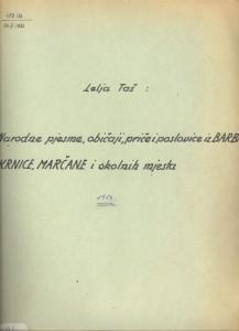 Narodne pjesme, običaji, priče i poslovice iz Barbana, Krnice, Marčane i okolnih mjesta 1952.