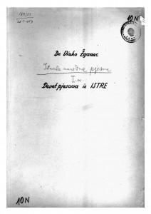Istarske narodne pjesme, sv. I., 1948.