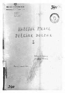 Narodne pjesme iz Požeške doline, sv. I., 1948.