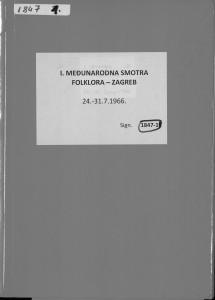 I. Međunarodna smotra folklora Zagreb : 24. - 31. 7. 1966. (arhivski materijali)
