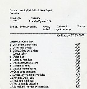 Međimurje (pjesme), 1952.