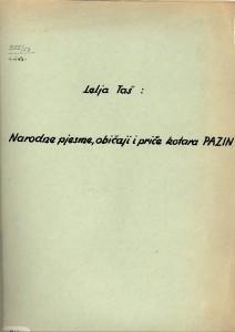 Narodne pjesme, običaji i priče kotara Pazin 1953,.